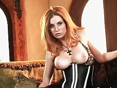 Foxy blonde babe masturbates in slutty black dress