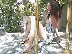 Ftv girl,Cassidy,leggy brunette babe toying pussy outdoor