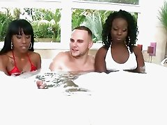 Lusty ebony bitches shag with white hunk in the pool
