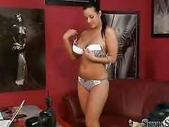 Busty dark haired honey stripping and fingering on audition