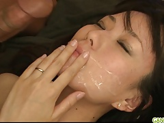 Cute Asian Cougar Manami Komukai threesome action