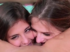 Full lesbian party along nude girls in love with oral sex