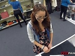 Skinny teen in glasses gives a blowjob then gets screwed hardcore in a close up pov shoot