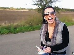 Beautiful brunette chick Zuzana gives blowjob on the road for cash
