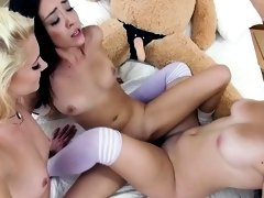 Nasty lesbian teens fucked their big cocked teddy bear