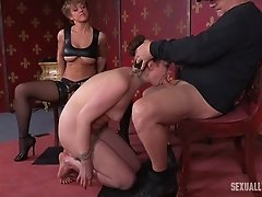 Long strap-on and a thick cock for a poor captured senorita