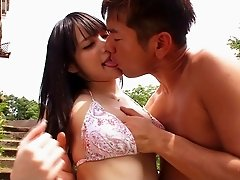 Randy Asian gets her cunt licked and fingered before fucking outside