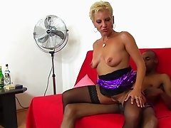 Short-haired blonde enjoys every moment spent with the black bone