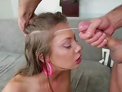 Nude Elena Koshka loves having her face sprayed with cum