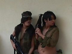Steamy girls in rough lesbian group show on cam