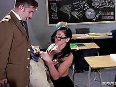 Slutty teacher Audrey Bitoni has hot lingerie sex in class