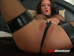 Fishnet-clad babe with beautiful juggs enjoying a hardcore dildo fuck