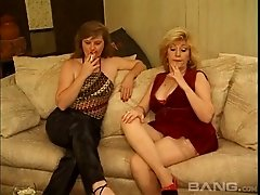 Mature lesbian with big boobs getting her shaved pussy licked