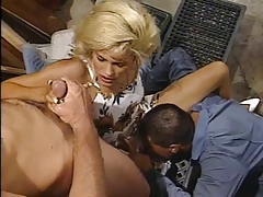 Horny blonde gets caught masturbating by janitor