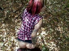 A guy bends Joanna Angel over and fucks her while outdoors