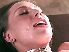 Tied up babe gets toyed and fingered by dominant dyke