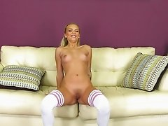 Alex Grey wearing cute white leggings and riding Danny Mountain