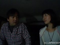 Lewd Japanese milf enjoys doggystyle pounding in  car