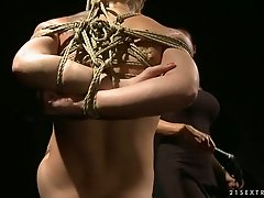 Chicky Clarissa gets tied up and fucked by hot lesbian Mandy Bright