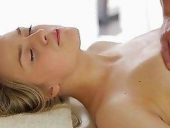 Instead of gentle massage horny babe gets wild sex