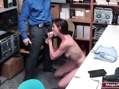 LP officer licks and fucks shoplifters pussy