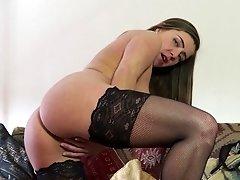Solo blonde MILF model Karen C. strips and masturbates at home