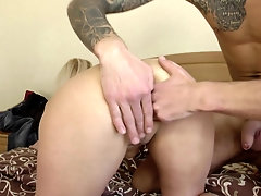 Blonde mature MILF Oksana rides a big fat cock on the couch
