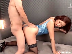 Kinky Japanese in a swimsuit Mizuno Asahi spits out a cumshot