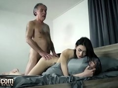 Mischievous, elder stud is pulverizing a promiscuous nubile dark haired, while her bf is out of town