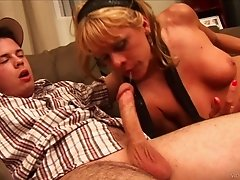 Cock hungry blonde blows and rides two wangs in MMF threesome