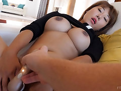 Asian busty solo model Tiffany masturbates with a vibrator