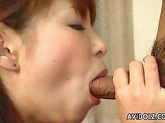 Pretty gal Shizuku Natsukawa fucked in a pile driver pose