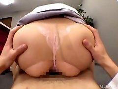 Japanese secretary Yuzuki Marina rides a dick in the office
