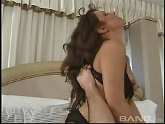 Kinky brunette in lingerie gets mouth fucked by a rough dude