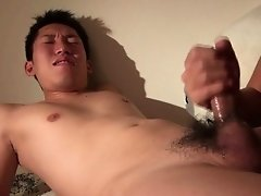 Stroked asian twink blows