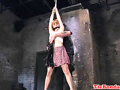 Busty submissive dildo fucked by maledom