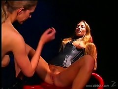 Aurora Snow and Roxanne Hall in leather enjoys insertions in BDSM porno