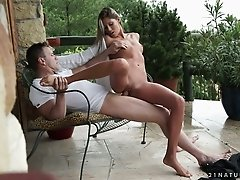 Sizzling blond seductress Aliyah blows big dick before passionate cowgirl session