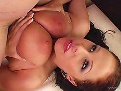 Elegant brunette amateur with big tits getting throbbed doggystyle hardcore