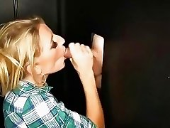 Sex freak Milf loves sucking off strangers in a gloryhole