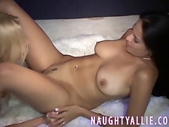 Hot blonde goes one on one wigh a super hot tight latina girl.