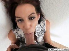 Stepsons erect penis was neck deep of stepmom