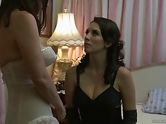 Classy girls in vintage lingerie kissing and eating pussy
