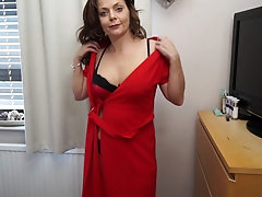 Mature Gemma Gold loves having stockings on while playing with her pussy