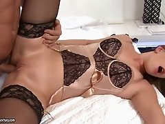 Tattooed dark haired bitch in sexy lingerie gets anal fucked in side to side pose