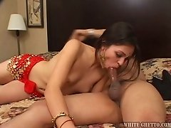 Exotic Indian chick swallows huge cock and licks nuts with pleasure