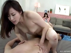 Horny Japanese amateur woman goes wild on cock