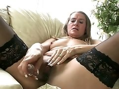 Lewd nympho in black tights Sara James is totally crazy about petting herself