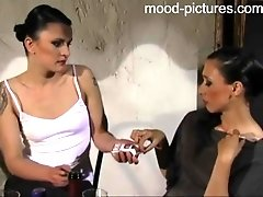 Horny girl needs to moan while a mistress hits her with a whip