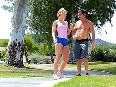 Mature sporty MILF Kenna gets horny during a workout and needs to fuck